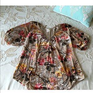 Sundance Catalog $148 velvet floral tunic blouse M